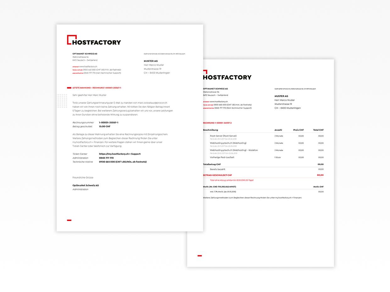 Briefschaften - Visuelle Identität - Hostfactory