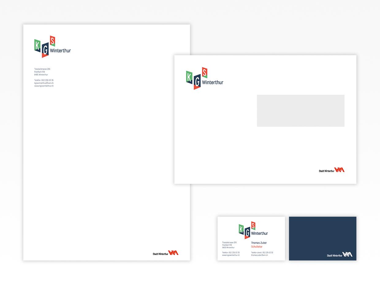Letterhead, business cards, envelopes, KGS Winterthur
