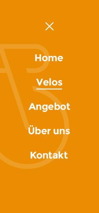Veloin mobile screen 3 - menu