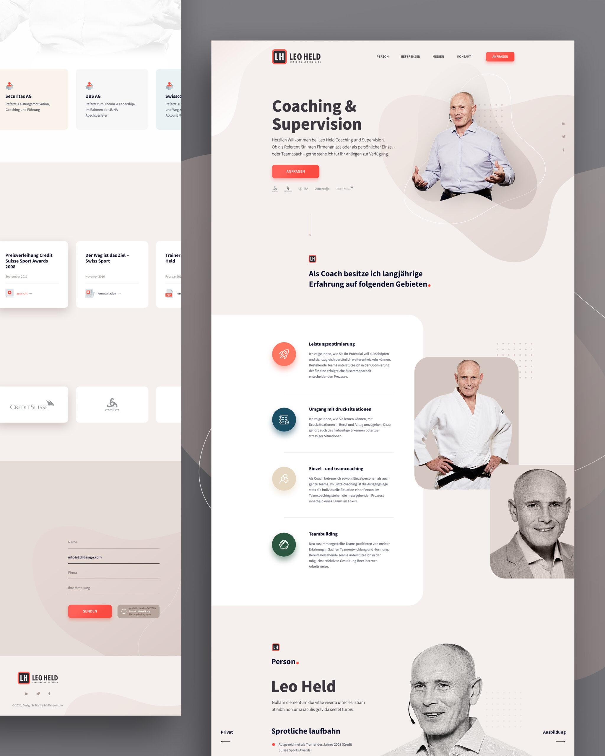 Onepage Webdesign für Leo Held in Desktop.
