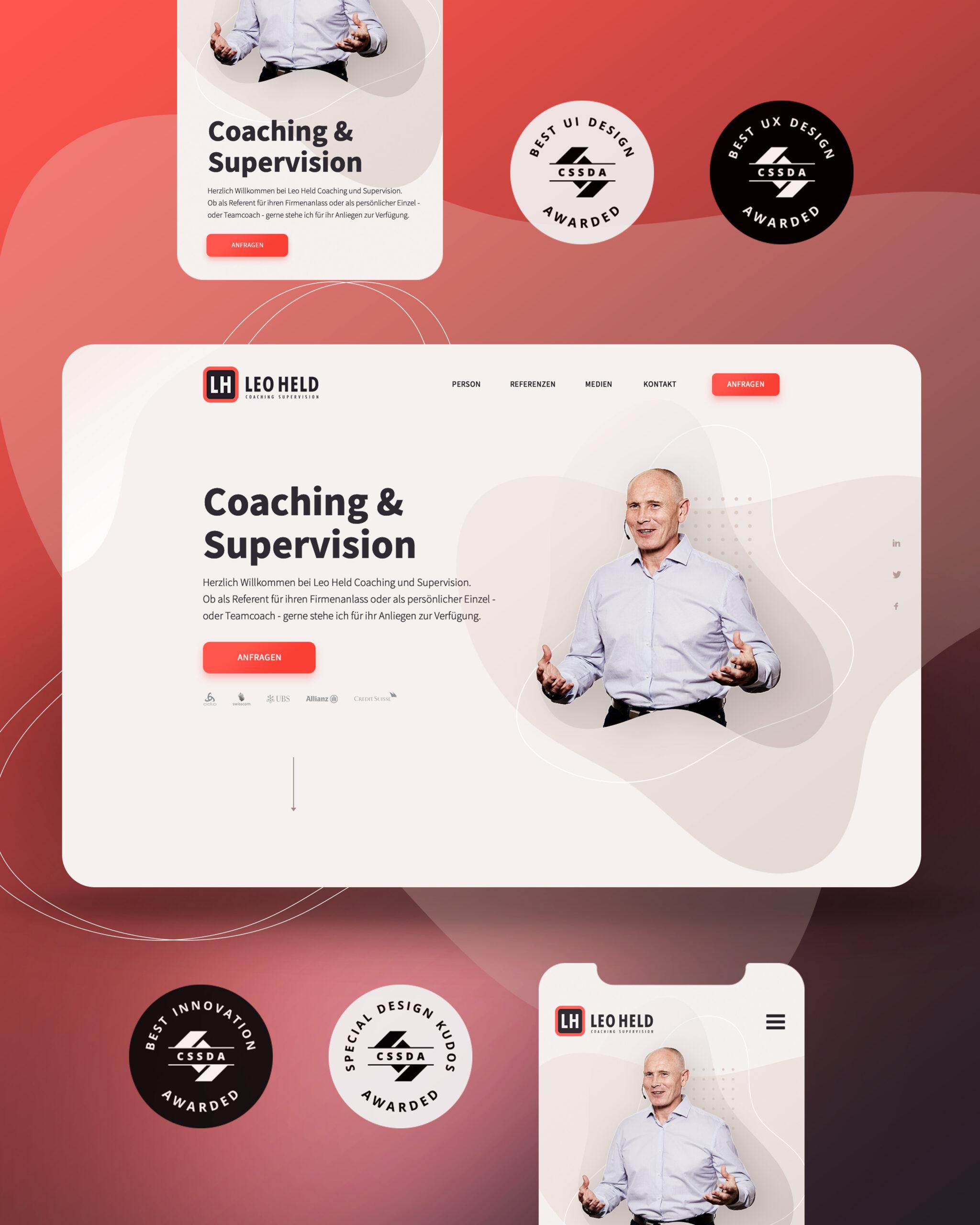 Onepage Webdesign für Leo Held in der mobilen Ansicht